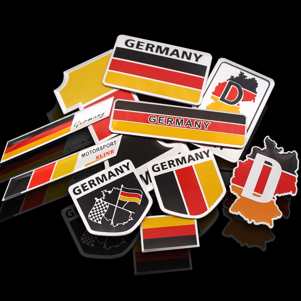 1PCS Metal 3D Germany German Flag Badge Emblem Deutsch Car Sticker Decal Grille Bumper Window Body Decoration for Benz VW Audi