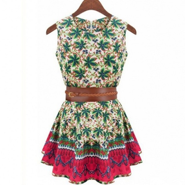 2015 New Fashion Cool Cotton Print Women's Summer Vestido With Belt