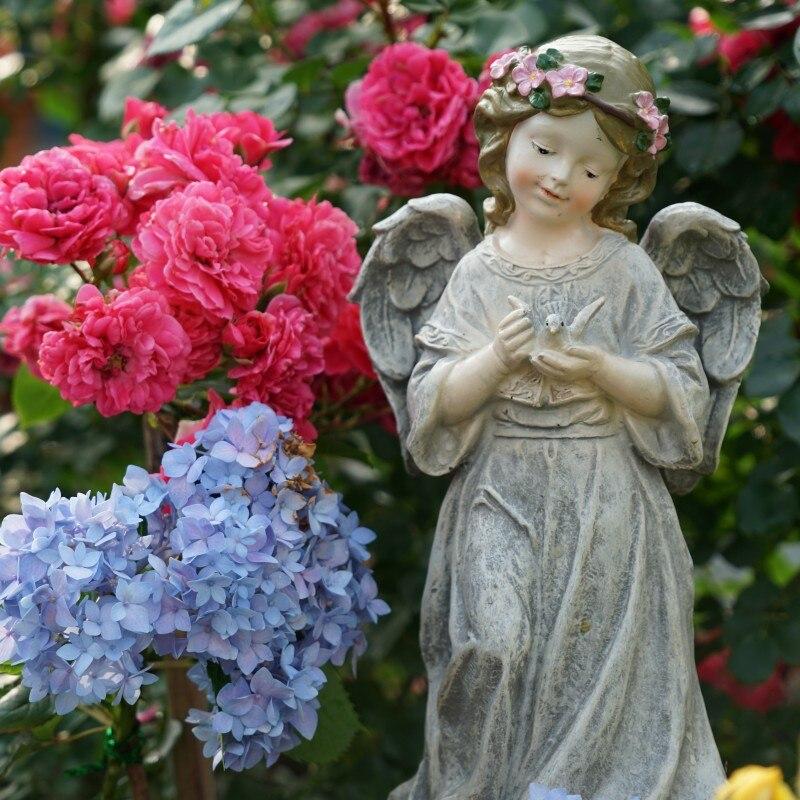 Jardin extérieur maison Yard rétro résine ange guirlande fille ange ornement parc artisanat américain pays Figurines décoration Art