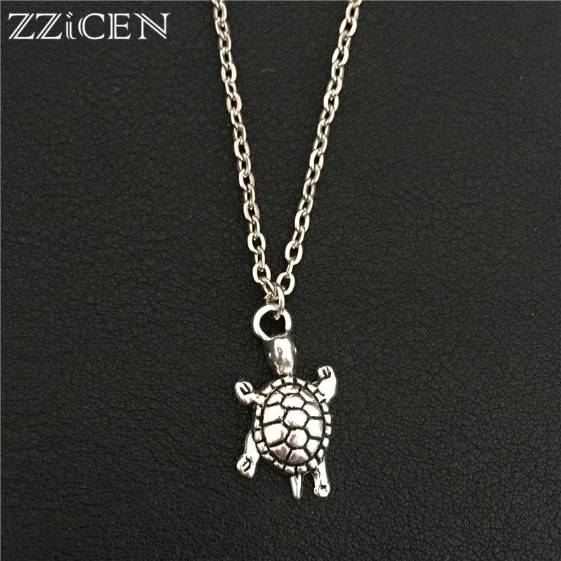 Fashion Jewelry Crystal Enamel Lovely Tortoise Turtle Pendant Necklace Chain