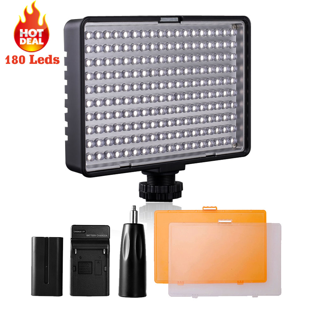 Travour 180 LED 13W LED Light Camera dimmable on Camera Hot Shoe LED Lamp 3200K 5500K photography lighting with Battery Charger