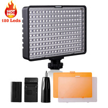 Travor 180 led vidéo lumière sur Caméra Vidéo Hotshoe LED lampe pour Canon Nikon Sony DV Caméscope DSLR + NP-F550 batterie + chargeur