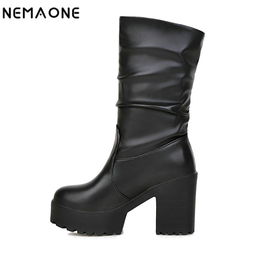 NEMAONE women fashion boots thick high heels platform boots spring/autumn mid-calf  women boots casual shoes woman size 34-46 new fashion winter boots wool flock shoes women boots platform thick high heels mid calf boots two swear big size 34 43 0715