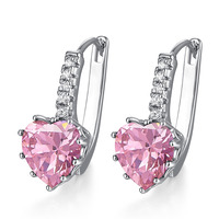 JROSE Beautiful Fashon Engagement Heart Cut Pink White Topaz Jewelry 18K White Gold Plated Clip Earrings Free Shipping Wholesale