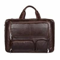 J.M.D Guarantee Genuine Cow Leather Brown Men's Unique Design Briefcases Laptop Handbag Business Portable Travel Bag 7289C