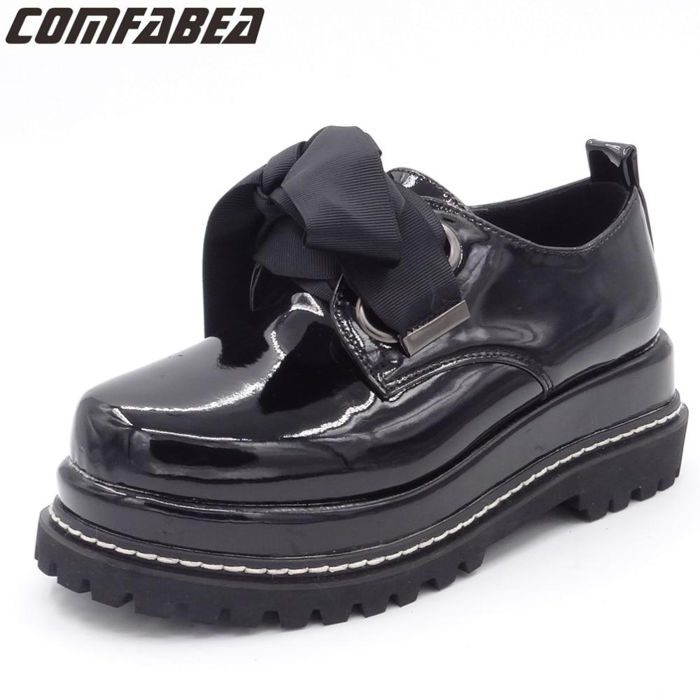 COMFABEA printemps automne chaussures femmes plate-forme chaussure 2019 Creepers chaussures à talons plats Lolita chaussures pour dames femmes chaussures décontractées