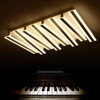 חדש פסנתר עיצוב הפוסטמודרנית LED תקרת אורות מלבן שלט רחוק תקרת מנורת סלון חדר שינה luminarias para teto-בתאורת תקרה מתוך פנסים ותאורה באתר