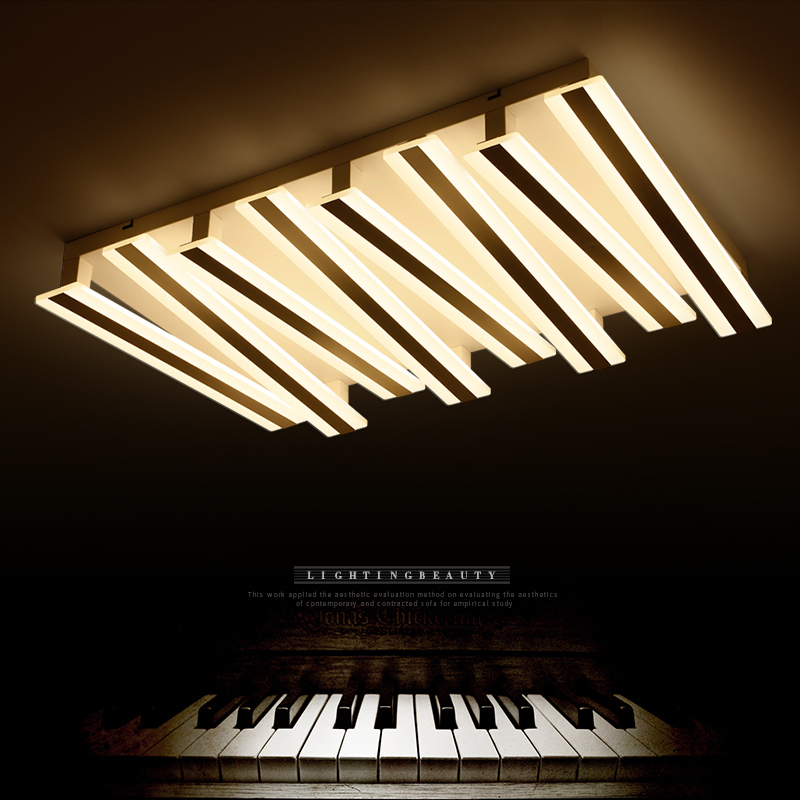 New piano design Postmodern LED ceiling lights Rectangle Remote control ceiling lamp living room bedroom luminarias para teto