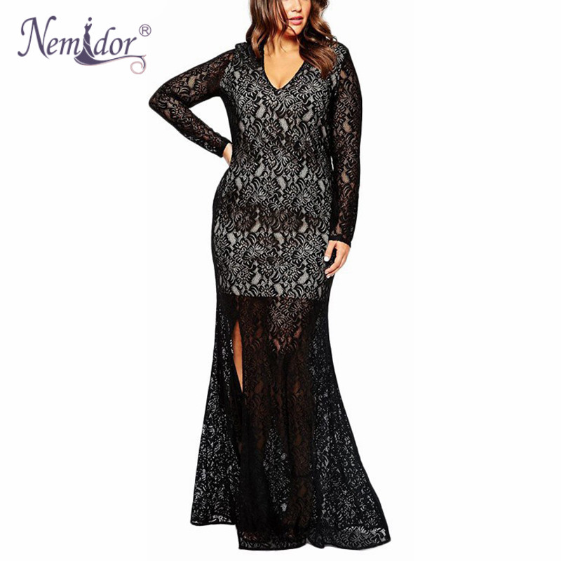 Nemidor 2018 Women Sexy V-neck 1950S Vintage Plus Size Dress 7XL 8XL 9XL Long Sleeve Party Lace Split Long Maxi Dress