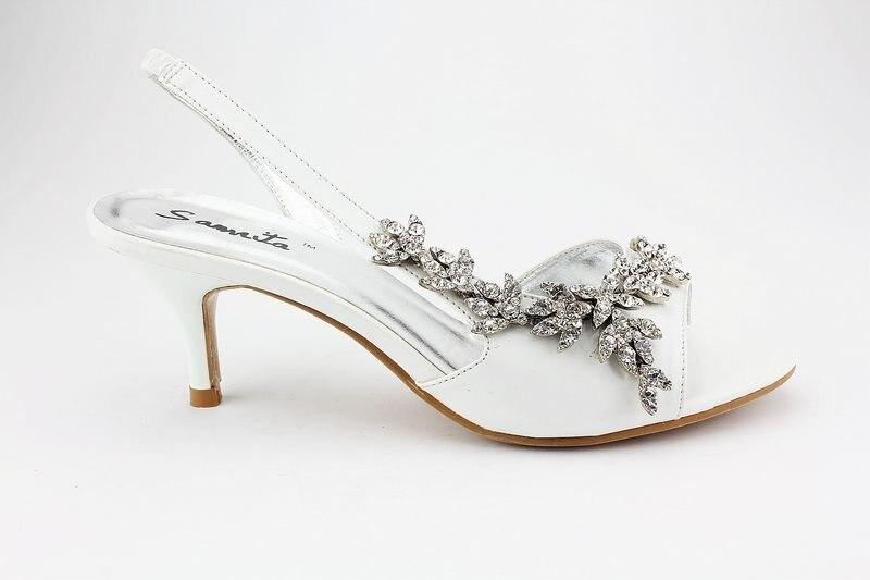 2017 Designer Samrita Brand Whole Royal Ivory Kitten Heel Rhinestone Stry Sandals Prom Wedding Bridal Shoes Ex06 In Women S From On