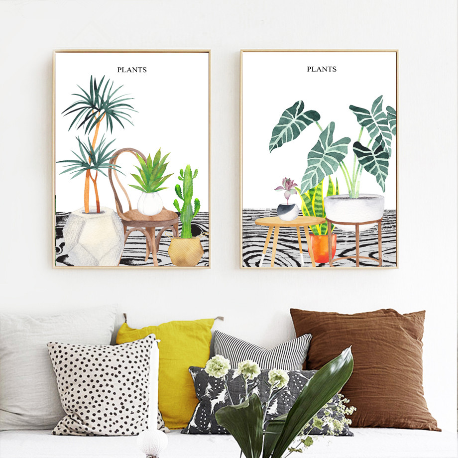 Watercolor Cactus Succulents Plant Potted Wall Art Canvas Painting Nordic Posters And Prints Wall Pictures For Living Room Decor