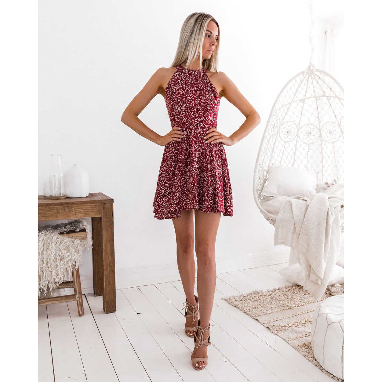 ec03ee7bea8 ... Womens Boho Beach Summer Holiday tumblr Sundress Halter Floral Mini Dress  Ladies Slim Sleeveless vestido playa ...