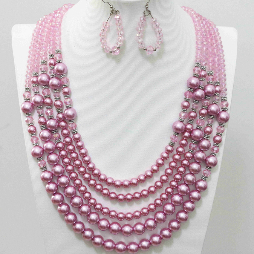 High quality pink simulated-shell glass crystal beads diy 5 rows necklace earrings for weddings party gifts jewelry set B983-12