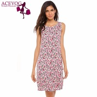 ACEVOG Women Tank Dress Summer Autumn 50S 60S Vintage Floral Print Sleeveless O Neck Loose Zip