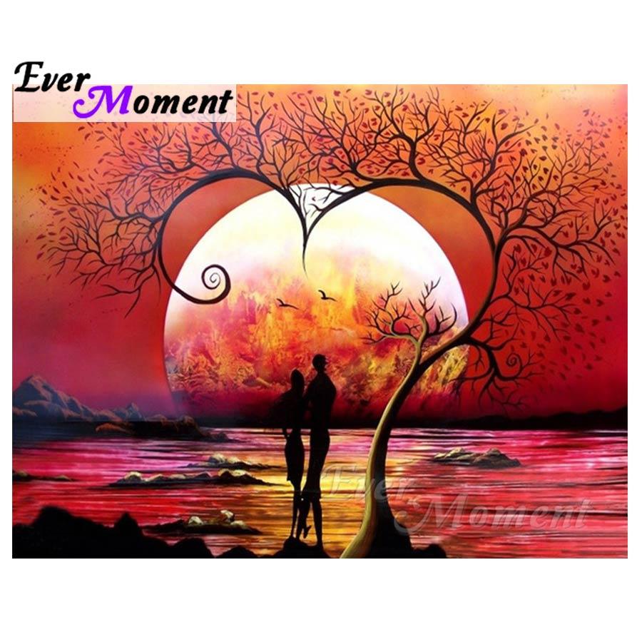 Pernah Saat Lukisan Berlian Cinta Matahari Terbenam Yang Romantis