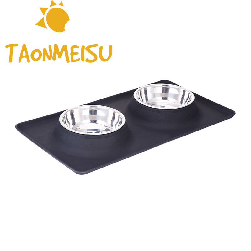Stainless Steel Double Bowl Comedero Travel Feeding Water Bowl Non-skid Silicone Mat For Pet Dog Cat Puppy Food Water Dish