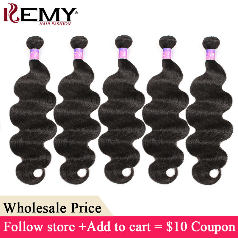 Natural Black Human Hair Bundles KEMY HAIR Body Wave Hair Extensions Brazilian Non-Remy Human Hair Weave Bundles Wholesale Price(China)