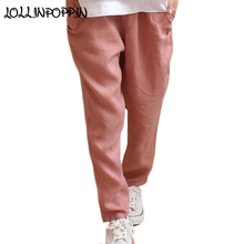 100% Linen Pants Womens Elasitc Waist Loose Casual Pants New 2018 Straight Fit Ladies Pure Linen Trousers Solid  Color