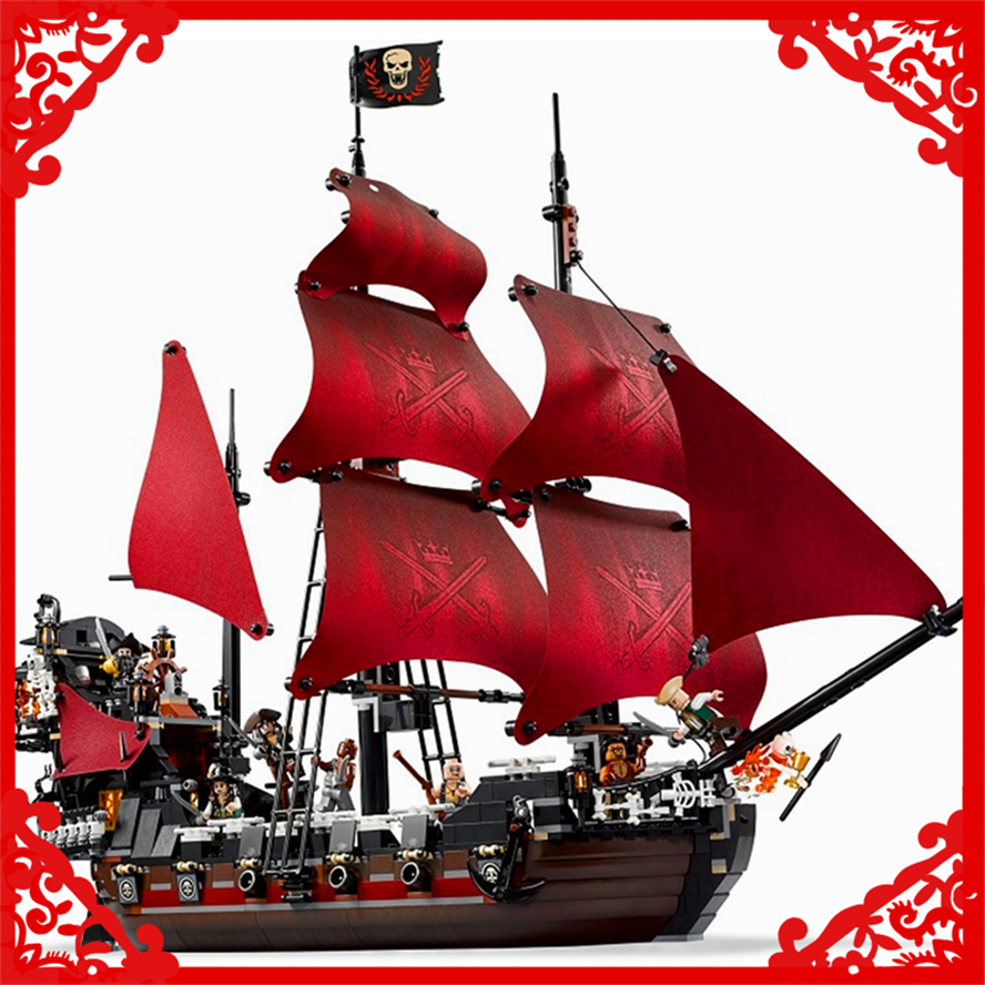 1151Pcs Building Block Compatible Legoe Toys Caribbean Pirates Queen Anne's Revenge LEPIN 16009 Brinquedos Gift For Children lepin 16009 caribbean blackbeard queen anne s revenge mini bricks set sale pirates of the building blocks toys for kids gift