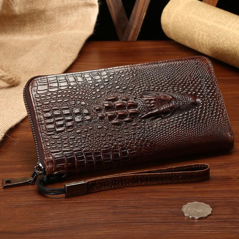 Роскошные Брендовые мужские кошельки из натуральной кожи с узором «Аллигатор», винтажная длинная дизайнерская сумочка клатч, высококачественные кошельки на молнии