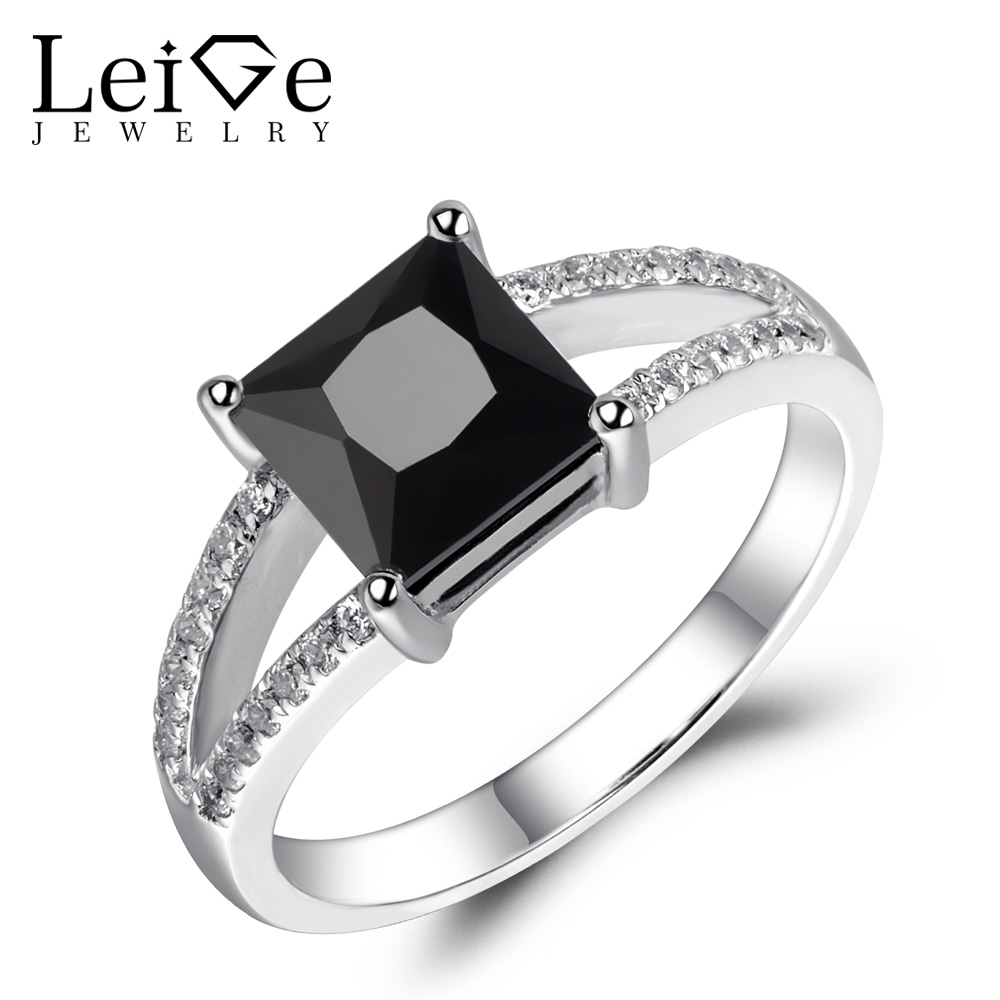 Leige Jewelry Natural Black Spinel Ring Princess Cut Black Engagement Wedding Rings for Women Fine 925 Sterling Silver Jewelry