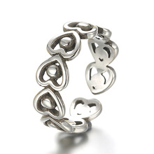 цены на 100% 925 sterling silver romantic love heart thai silver retro style ladies`finger open rings jewelry women no fade wedding ring  в интернет-магазинах