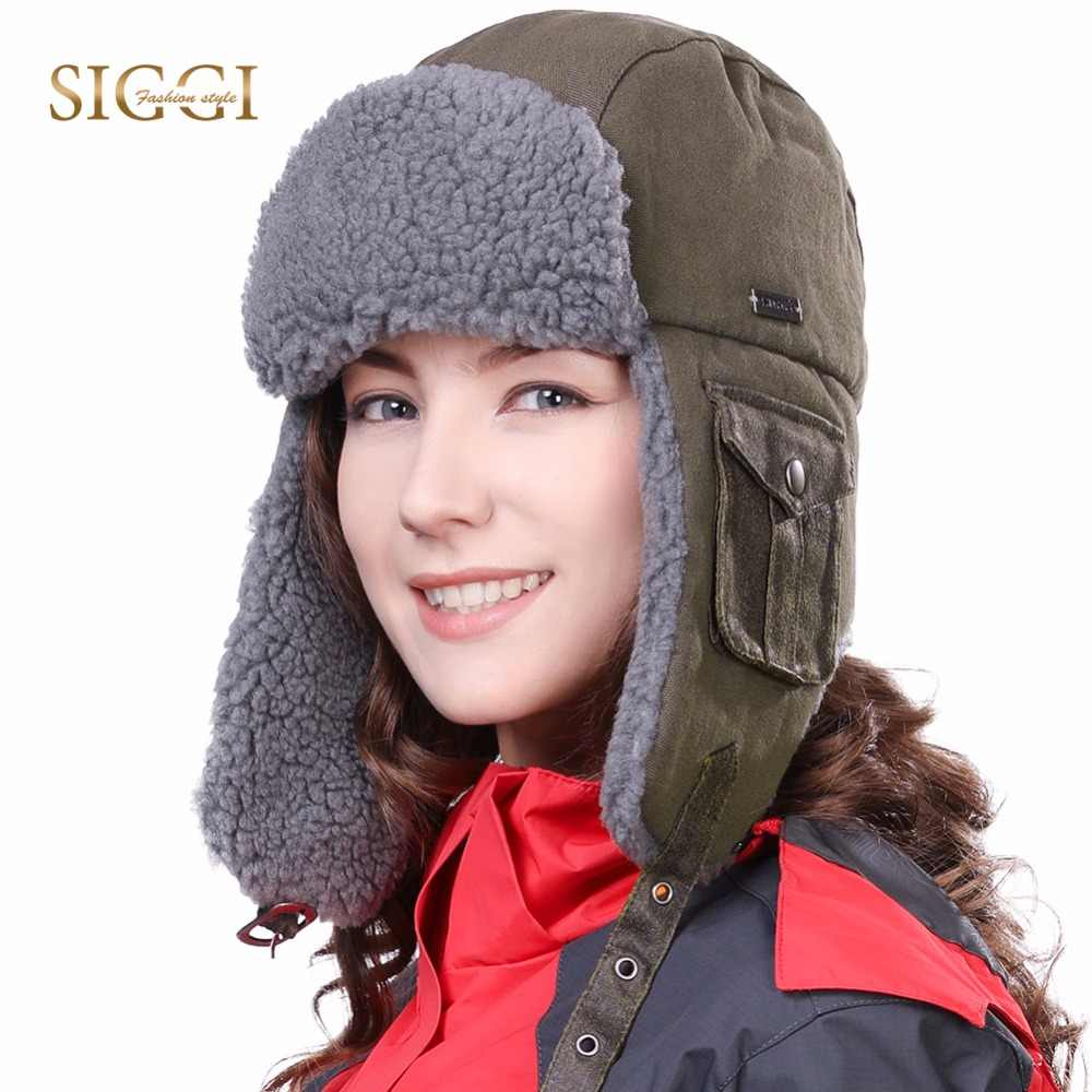 706462dbe53 FANCET Unisex Winter Men Bomber Hat for Women Solid Warm Fabric Windproof  Cotton Ushanka Fleece Russian