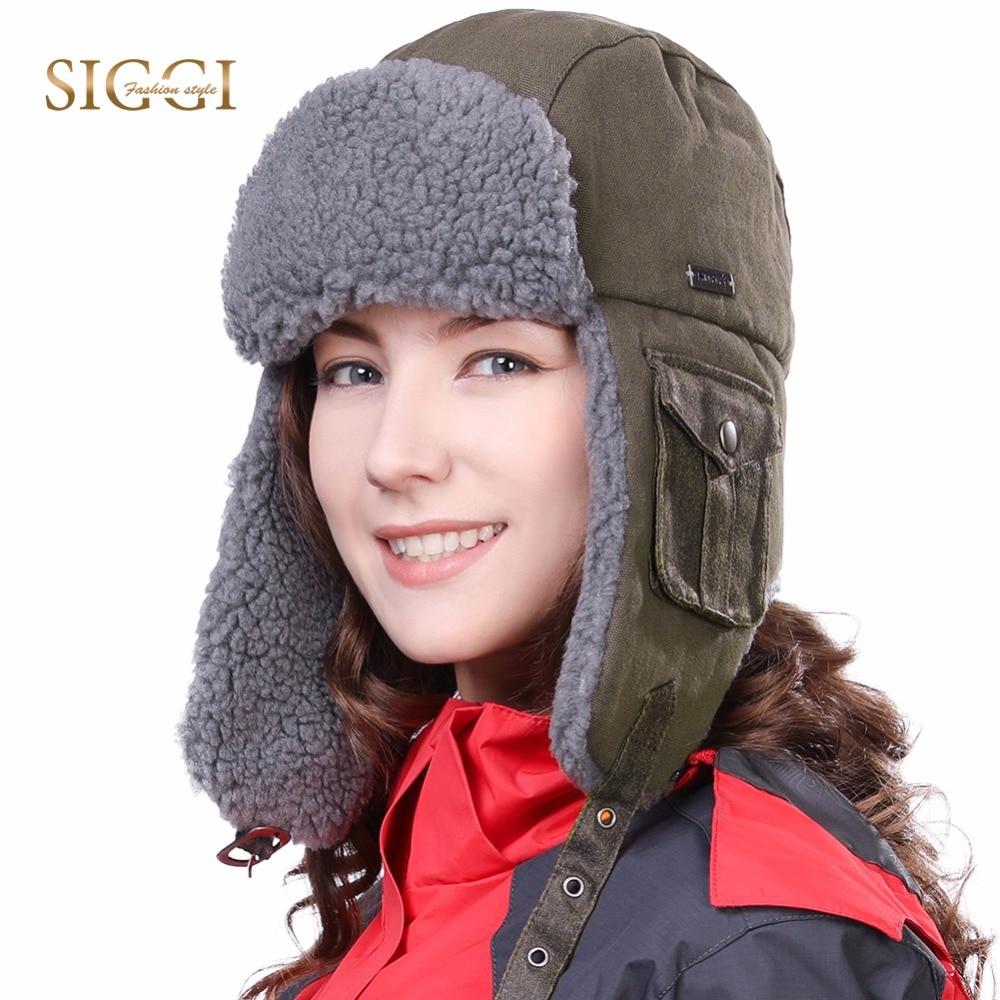 7c8d6c44ec0 FANCET Unisex Winter Men Bomber Hat for Women Solid Warm Fabric Windproof  Cotton Ushanka Fleece Russian Hats Caps 89096