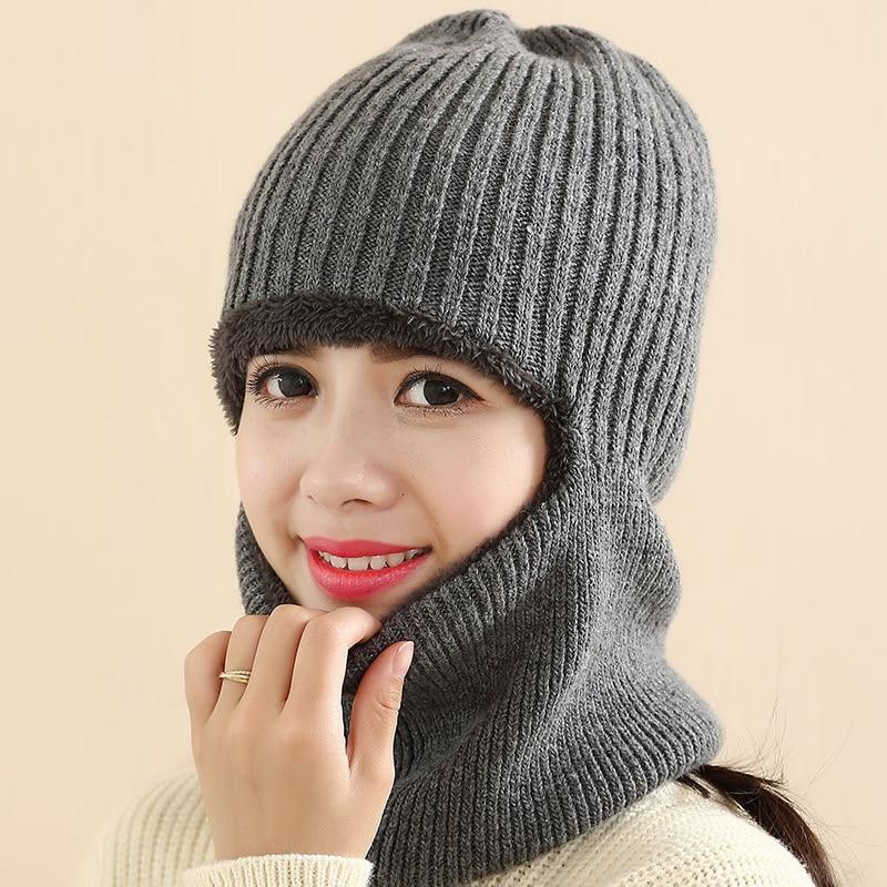 2016 Hot Novelty Winter Striped Knit Face Mask hats Beanies Thicken Crochet Beard Unisex Balaclava Bonnets Hat for Women Men