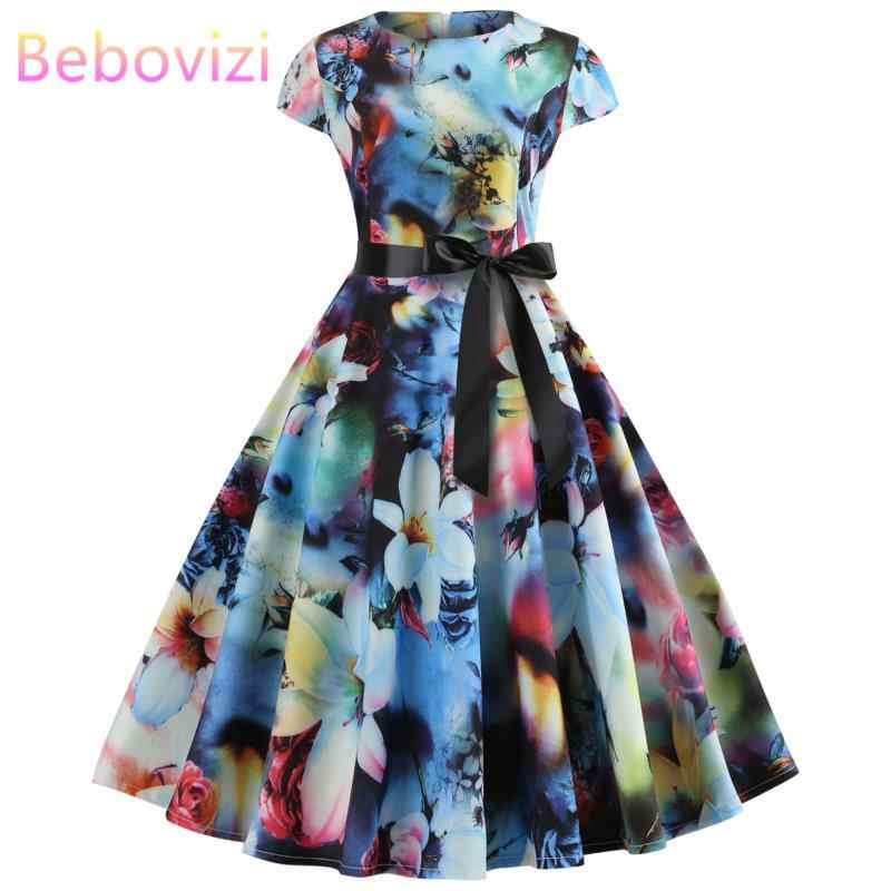 Bebovizi Women 2019 Summer New Style Short Plus Size Elegant Vestidos Vintage Flower Print Casual Office A-Line Bandage Dress