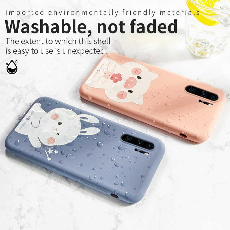 ASINA Cute Cartoon Liquid Silicone Case For Huawei P20 P30 Lite Pro Plain Clear Cover For Huawei Honor 8X 10 Mate 20 Pro Funda
