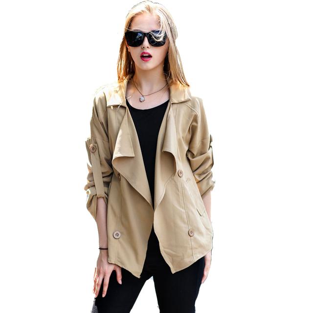 2016 Outono Mulheres solto selvagem turn down collar irregular blusão jaqueta fina