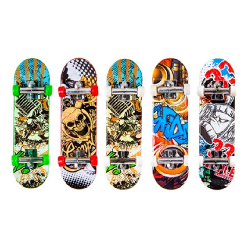1 Pc Zufällige Farbe Kreative Mini Finger Skateboard Griffbrett Legierung Stents Peeling Finger Roller Skate Internat Kinder Spielzeug La993389 GläNzend