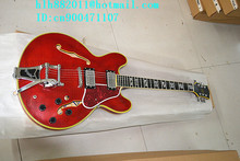 Freies verschiffen neue hohlen e-gitarre in rot mit chrome hardware und große wippe made in China + schaumkasten F-1848