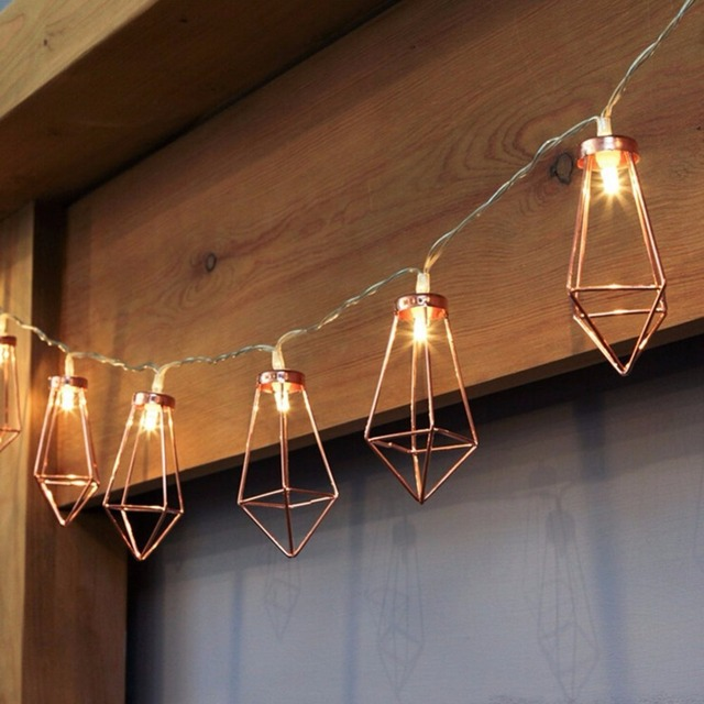 Diamond Fairy Lights Battery Operated String Geometric Shape Modern Lighting With Timer For Indoor Bedroom