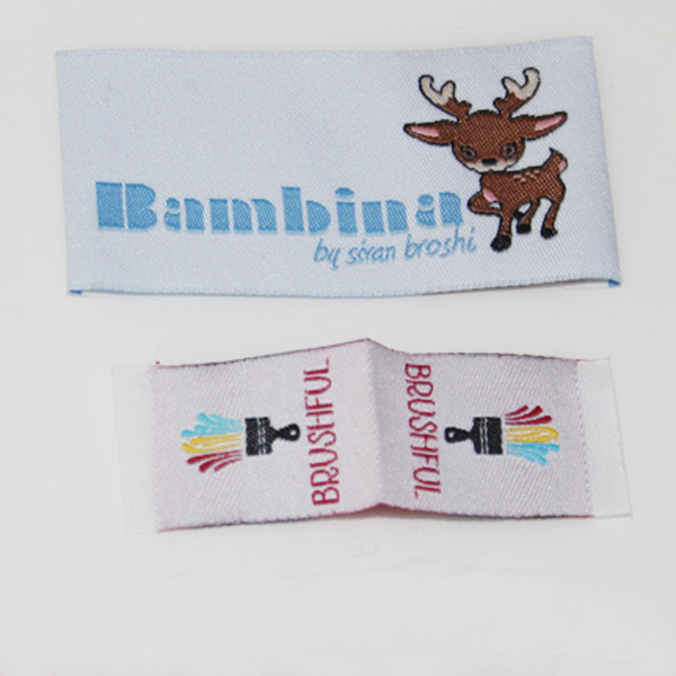 Customized Garment Labels Clothing Custom Trademark Woven Label 1000 pieces Lot with Cut And Fold