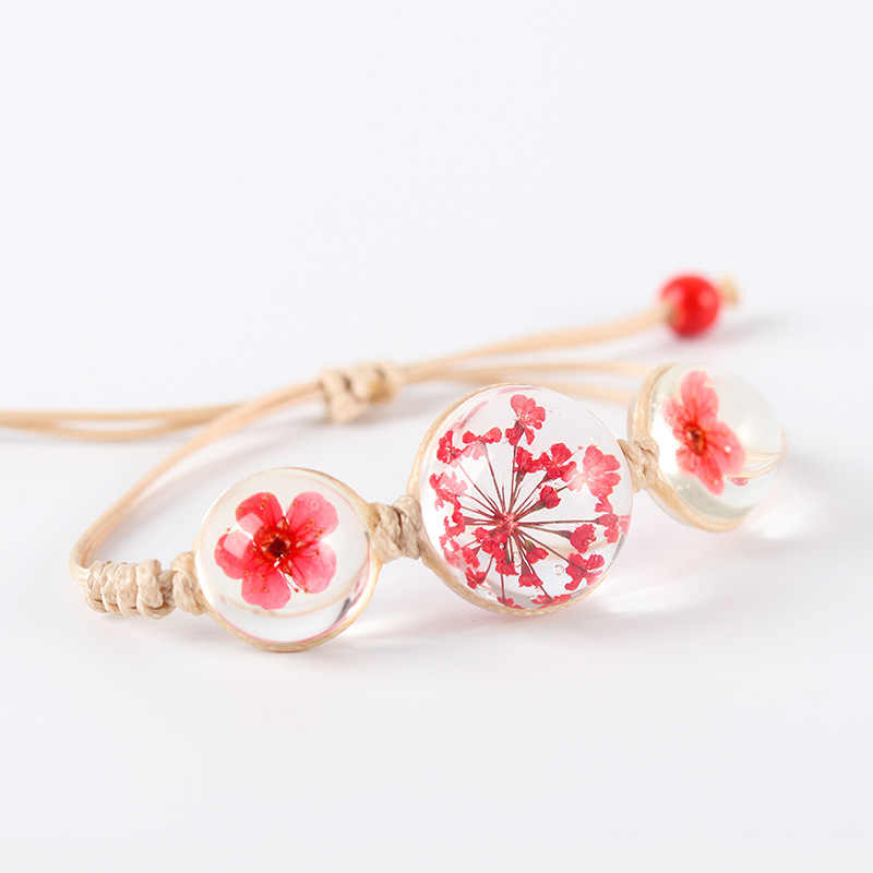 Summer Style Glass Ball Woven Bracelet Plant Dried Flower Glass Beads Handmade Bracelet Hand-woven Bracelet Gift Wholesale