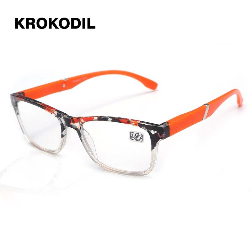 84e0b049a7d2 Krokodil Brand High-end Business Reading Glasses Men flash color PD62  Glasses Ochki 1.75+
