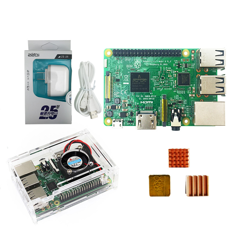Raspberry Pi 3 Kit-pi 3 Board / Pi 3 Case /US Power Plug/with Logo Heatsinks Pi3 B/pi 3b With Wifi & Bluetooth