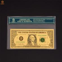 Colorido papel moneda de EE. UU. 1 dólar dinero nuevo chapado en oro dinero falso billetes colecciones con COA