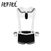 iEFiEL Newest Sexy Gay Mens Male Lingerie Sailor Cosplay Costume Underwear Set Elastic Suspenders Boxer with