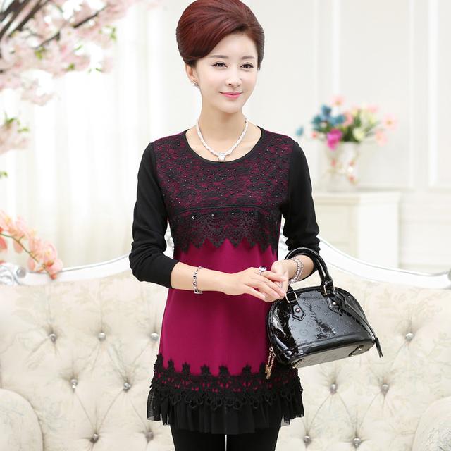 Nova moda de alta qualidade outono mulheres t-shirt senhora de manga comprida o-pescoço fino rendas mãe pullover plus size clothing