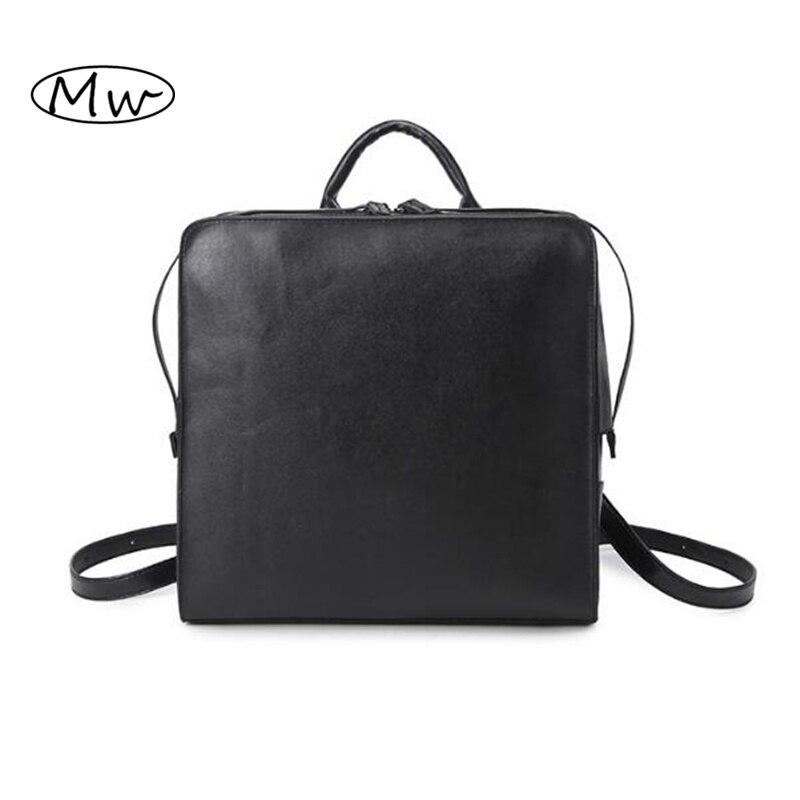 15fff92b380 Retro negro pu Mochila De Cuero caja cuadrada mochila Mochilas y bolsas  para el colegio para adolescentes mochila Tote simple mujeres bolsa de  hombro Doble ...
