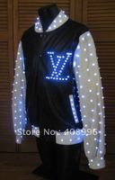 LED luminous jacket for performance/glowing clothes /light up costumes/hip hop clothing
