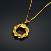 Trend Twist Circle Pendant Necklace For Women Minimalism Necklace Gold Color Round Pendants Jewelry