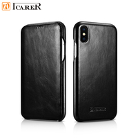 ICARER Luxury Vintage Flip Case for iPhone Xs Max Protective Genuine Leather Cover 4 Colors