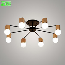 Modern Iron Wood Dining Hall Ceiling Lamp Coffee House/Shop/Mall/Foyer/Bookstore Indoor Lighting E27 Lamp Holder 110-240V