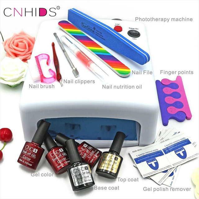 CNHIDS Nail Manicure Nail Polish Tools Set 10 in 1New 36W UV Lamp 7of Resurrection  And Portable Package Five 7.3GSoaked UV Glue