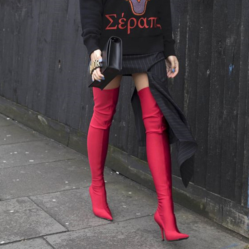 Hanbaidi New Stretch Thigh High Boots Woman Pointed Toe Thin High Heel Shoes Woman Sexy Pink Purple Black Over The Knee Boots hot runway sexy women boots stretch silk pointed toe stiletto high heels over the knee boots jersey thigh high boots shoes woman