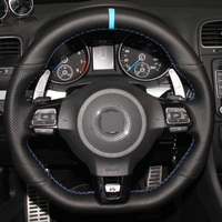 Hand Stitched Black Genuine Leather Car Steering Wheel Cover For Volkswagen Golf 6 GTI MK6 VW